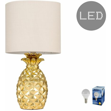 Contemporary Pineapple Table Lamp With A Cotton Shade - 4W LED Golfball Bulb
