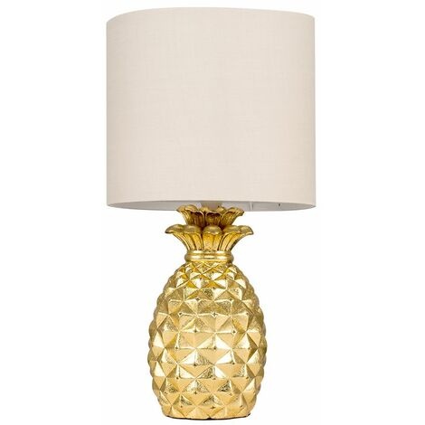 Contemporary Pineapple Table Lamp With A Cotton Shade