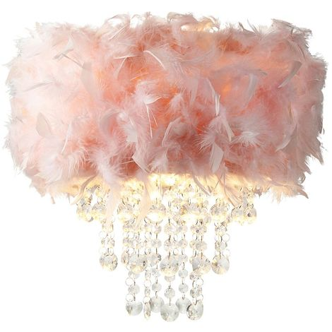 Contemporary Pink Feather Pendant Light Shade with Transparent Acrylic Droplets by Happy Homewares