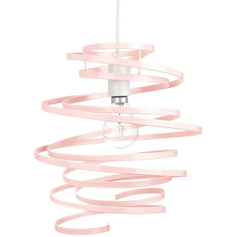 Contemporary Pink Gloss Metal Double Ribbon Spiral Swirl Ceiling Light Pendant by Happy Homewares
