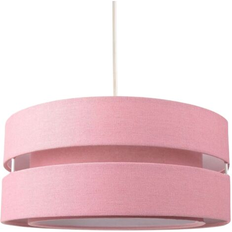 Contemporary Quality Pink Linen Fabric Triple Tier Ceiling Pendant Light Shade by Happy Homewares