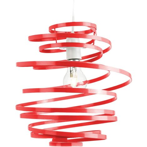 Contemporary Red Gloss Metal Double Ribbon Spiral Swirl Ceiling Light Pendant by Happy Homewares