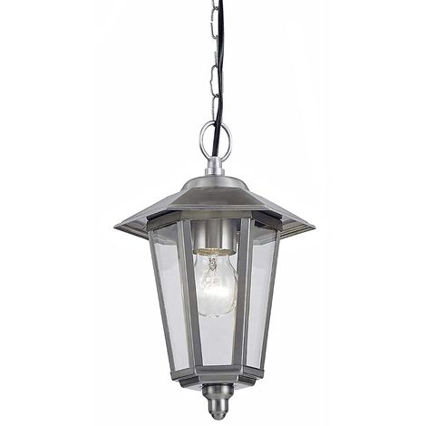 Contemporary Stainless Steel Hanging Lantern Porch Light by Happy Homewares