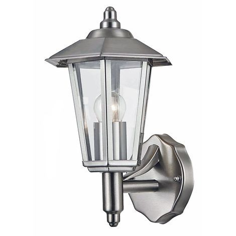 Contemporary Stainless Steel Outdoor Wall Light with Clear Glass by Happy Homewares