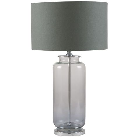 Contemporary Table Lamp Grey Cylinder Shade Ombre Glass Grey to Clear