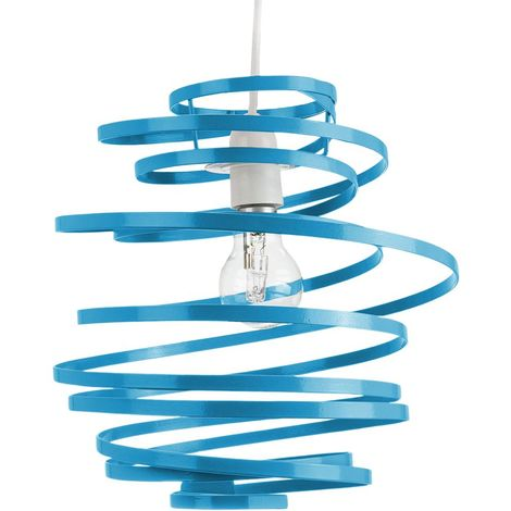 Contemporary Teal Gloss Metal Double Ribbon Spiral Swirl Ceiling Light Pendant by Happy Homewares