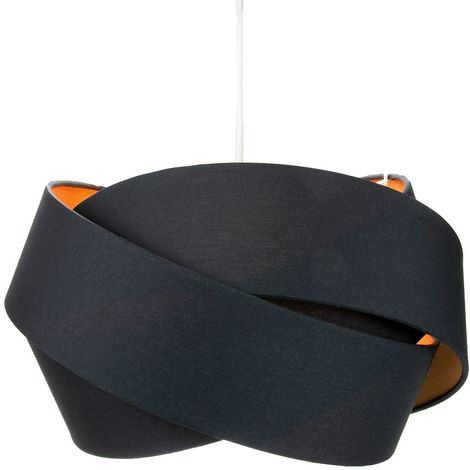 Contemporary Triple Ring Black Cotton Fabric Pendant Shade with Rose Gold Inner by Happy Homewares