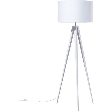 Contemporary Tripod Floor Lamp White Legs and Shade Stiletto