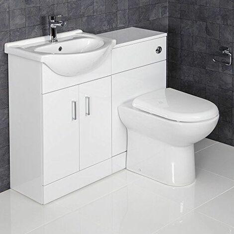 Contemporary Vanity Unit White Bathroom Sink Cabinet 1050mm Width