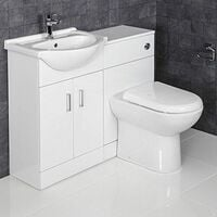 Contemporary Vanity Unit White Bathroom Sink Cabinet 1050mm Width