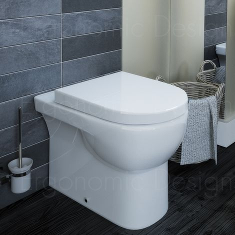 Contemporary Wc Back To Wall Toilet Pan With Soft Close Seat