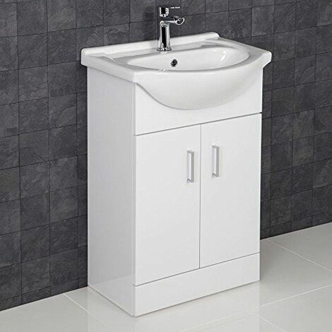 Contemporary White Gloss Bathroom Sink Basin Cabinet - 550mm Width