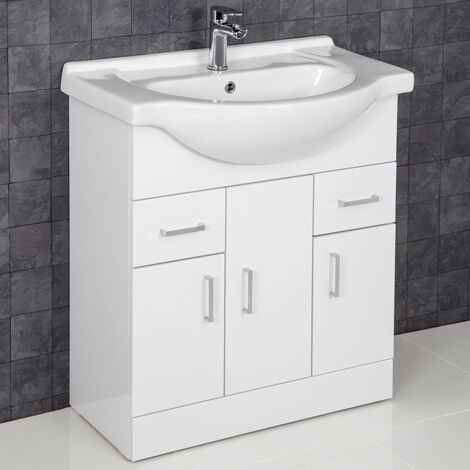 Contemporary White Gloss Bathroom Sink Basin Cabinet 750mm Width