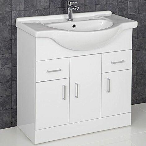 Contemporary White Gloss Bathroom Sink Basin Cabinet 850mm Width