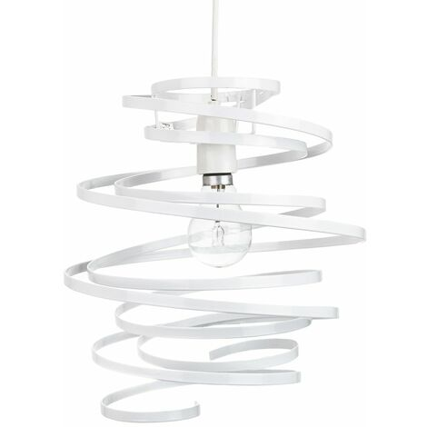 Contemporary White Gloss Metal Double Ribbon Spiral Swirl Ceiling Light Pendant by Happy Homewares