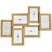 "Contemporary Wood Oak Effect Collage 6 Picture Multi Photo Frame 4"" x 6"" by Happy Homewares"
