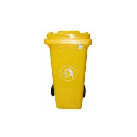 Contenedor bas. 120 lt c/rued natuur pl amarillo tapa nt1258