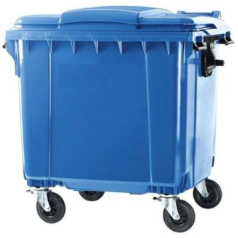 Contenedor Basura 1100 litros Tapa Plana (Color azul)