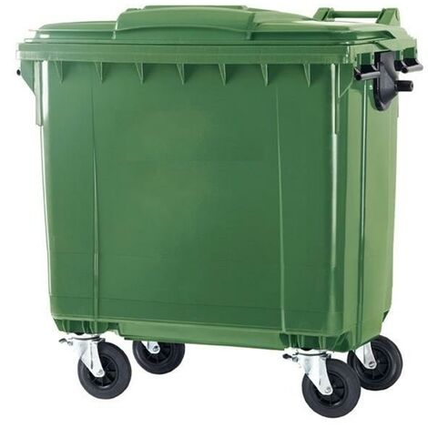 Contenedor Basura 1100 litros Tapa Plana (Color verde)