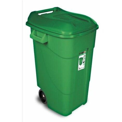 Contenedor Basura 120 Lt Con Ruedas Tayg Plastico Verde Tapa 424007