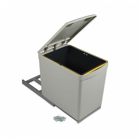 Contenedor de reciclaje, 16 L, fijación inferior, extración manual, tapa automatica, Plástico, Gris