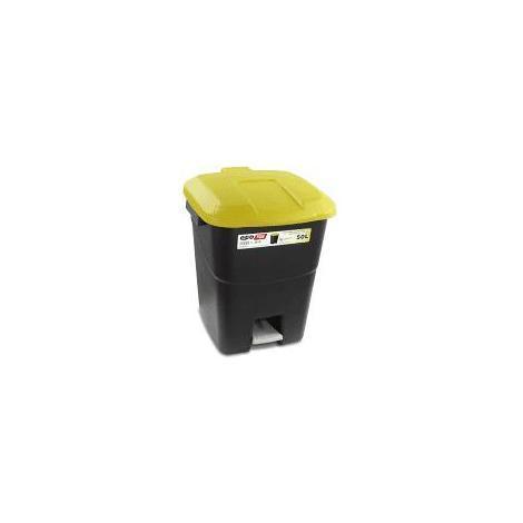Contenedor negro residuos 50 litros + pedal tapa amarillo TAYG