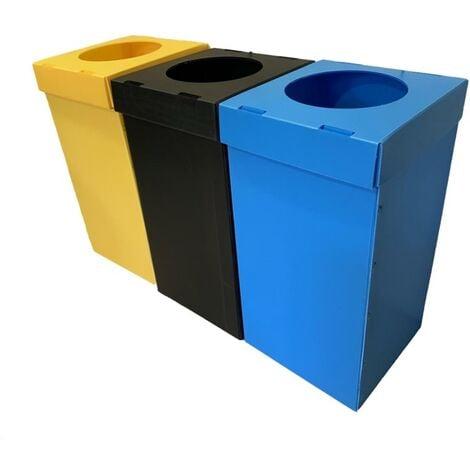 Contenedor papelera PP reciclaje 80 litros en azul, amarillo y negro