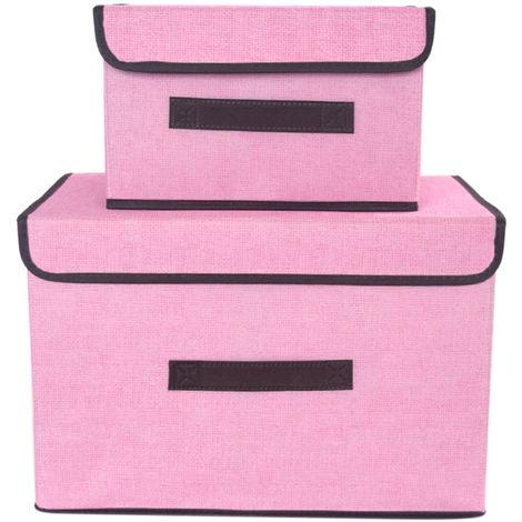 Contenedores plegables, no tejidos, contenedores, cestas, cajas, 2 piezas, rosa