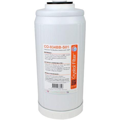 """Conteneur 9""""3/4 à 10"""" Big Blue Charbon actif et KDF® - Crystal Filter® CO-934BB-S01"""