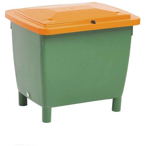Conteneur rectangulaire - avec couvercle sur charnières - capacité 210 l, bac vert, couvercle orange