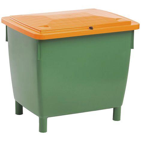 Conteneur rectangulaire - avec couvercle sur charnières - capacité 400 l, bac vert, couvercle orange