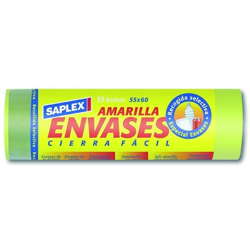 Conteneurs pour sacs ? ordures 55X60 Cm 15 Pcs plastique jaune Saplex