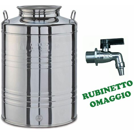 """main image of """"Contenitore fusto bidone olio da 100 LT (RUBINETTO OMAGGIO) acciaio inox 18/10"""""""