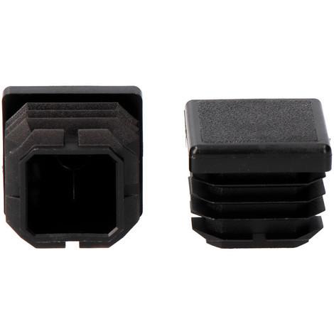 Contera interior cuadrada con aleta 40x40mm negra