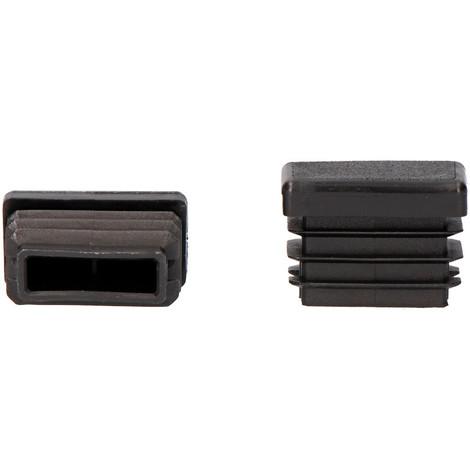 Contera interior rectangular con aleta 60x20mm negra