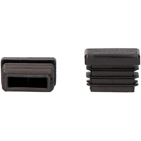 Contera interior rectangular con aleta 80x20mm negra
