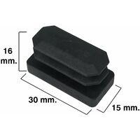 Contera Rectangular Negra 15x30mm. Blister 4 piezas.