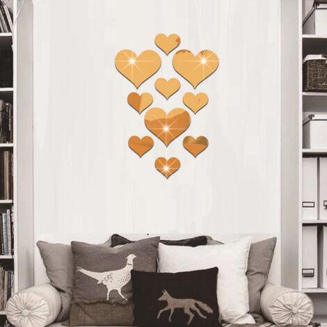Contexte Decoration Salon Mur Acrylique Stereo Type De Coeur Autocollant 3D Miroir Impermeable, Or