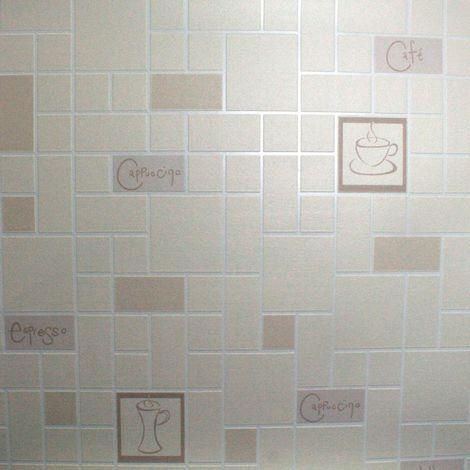 Contour Cafe Culture Kitchen Bathroom Beige Wallpaper