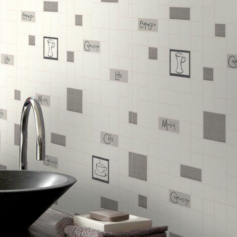 Contour Cafe Culture Kitchen Bathroom Grey Wallpaper (Was £15)