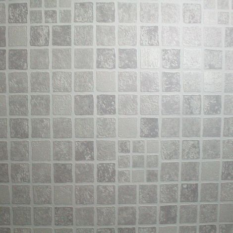 Contour Earthen Tile Effect Kitchen Bathroom Grey Wallpaper
