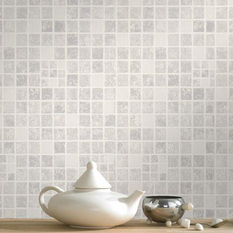 "main image of ""Contour Earthen Tile Effect Kitchen Bathroom Grey Wallpaper (Was £15)"""
