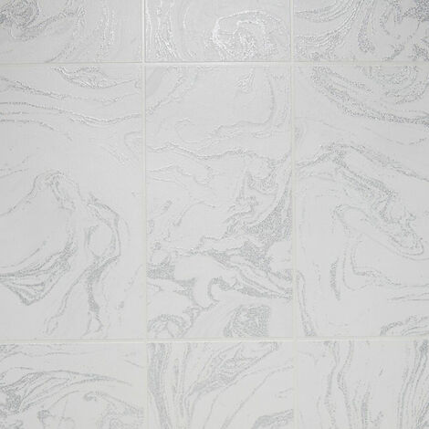 Contour Silver Glitter Marble Tile Wallpaper