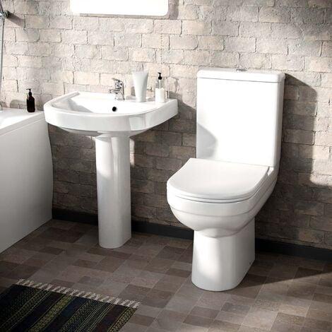 CONTRACT 2 PIECE TOILET & FULL PEDESTAL BASIN BATHROOM SUITE INC TAP & WASTE