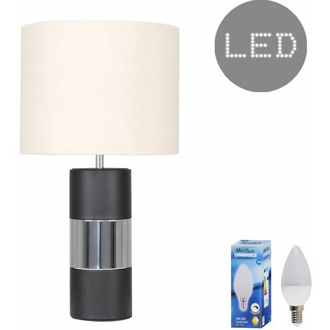 Contrasting Panel Table Lamp + Dimmable LED Candle Bulb