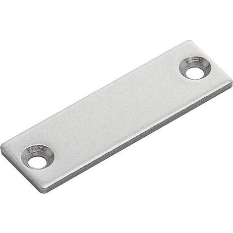 Contre plaque à visser acier - Décor : Poli - Entraxe : 40 mm - Epaisseur : 2 mm - Hauteur : 15 mm - Largeur : 49 mm - Matériau : Inox - SUGATSUNE - Hauteur : 15 mm