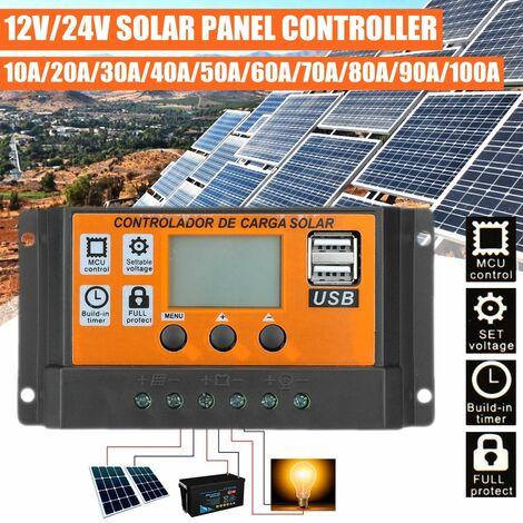 Contr?leur de charge de régulateur de batterie de panneau solaire double USB 12 / 24V LCD (100A)
