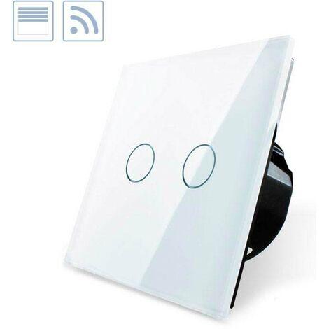 Control de persianas táctil + remoto, frontal blanco