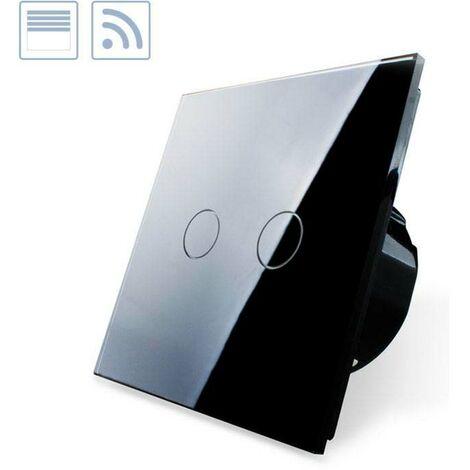 Control de persianas táctil + remoto, frontal negro