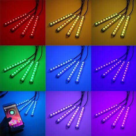 Control inalámbrico del teléfono del coche de neón de la tira de luz multicolor de 4x LED